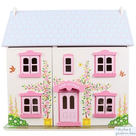 Grande maison de poupées, rose, blanche et mauve en bois