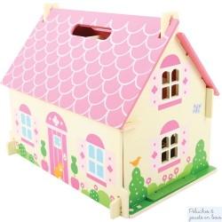Petite maison de poupée rose en bois avec poignée