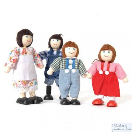 Famille de La Ferme 4 poupées articulées en bois Tidlo T0095