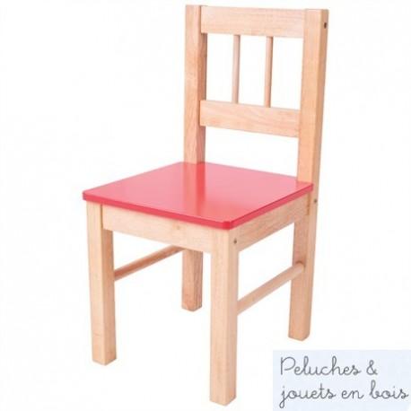 Chaise avec assise rouge Mobilier couleur Enfant Bigjigs en bois naturel BJ252