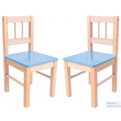 Pack de 2 Chaises bleues Mobilier Enfant en bois naturel massif Bigjigs BJ251