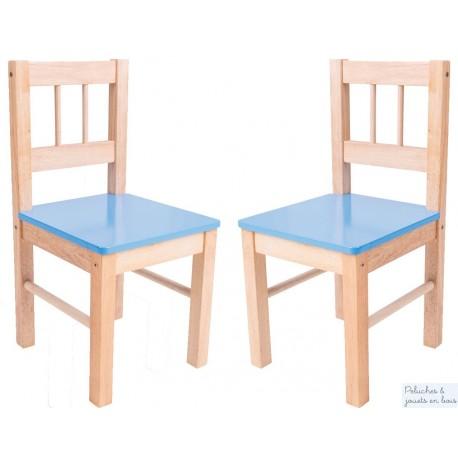 Chaise avec assise bleue Mobilier couleur Enfant Bigjigs en bois naturel BJ252
