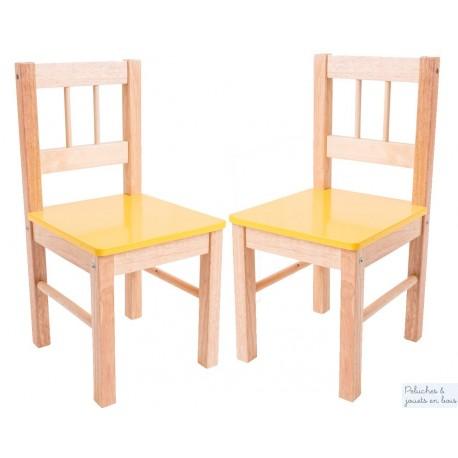 Chaise avec assise jaune Mobilier couleur Enfant Bigjigs en bois naturel BJ252