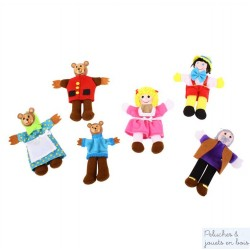 Bigjigs 6 marionnettes de doigt Boucle d'or et les 3 ours & Pinocchio