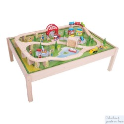 Table et Grand Circuit de train en bois Pont et Tunnel Bigjigs Train BJT040