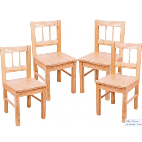 lot de 4 Chaises d'enfant Collection bois massif naturel Bigjigs
