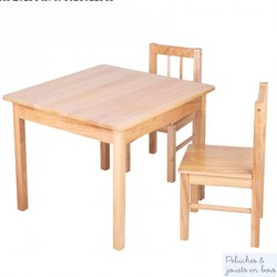 lot Table et 4 Chaises d'enfant Collection bois massif naturel Bigjigs