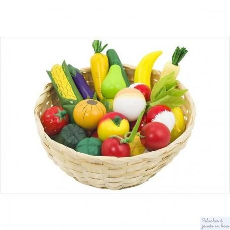 Corbeille de fruit et légumes en bois