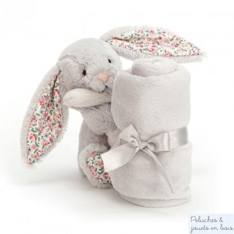 Doudou lapin Liberty gris