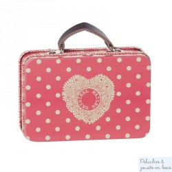 Mini valise coeur fraise