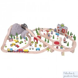 Grand circuit de Train de Montagne en bois Bigjigs BJT016