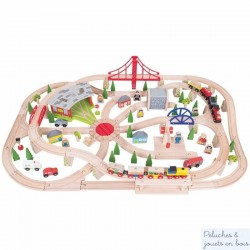 Bigjigs Grand circuit de Train de Marchandises en bois