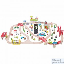 Grand Circuit de train en bois Transport de Voyageurs Bigjigs BJT018