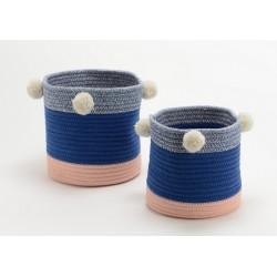 Set de 2 paniers Simon rose et bleu