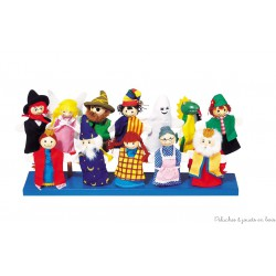 Marionnettes à doigt, tête en bois, 12 assorties