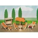 Meubles pour maison de poupée Salon de jardin Goki