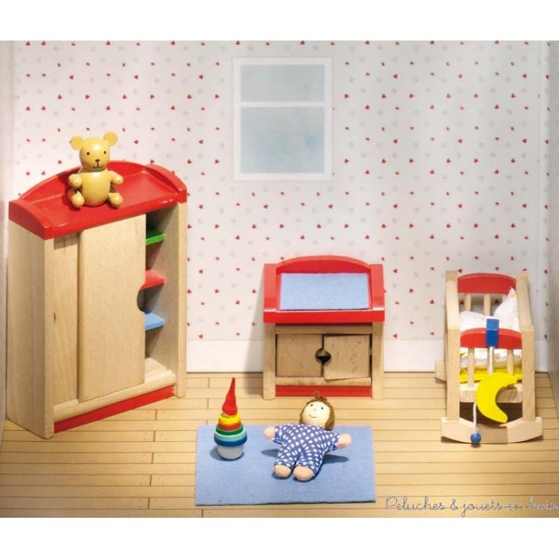 Chambre coucher du b b 12 meubles goki de maison de poup e en bois - Meuble pour bebe ...
