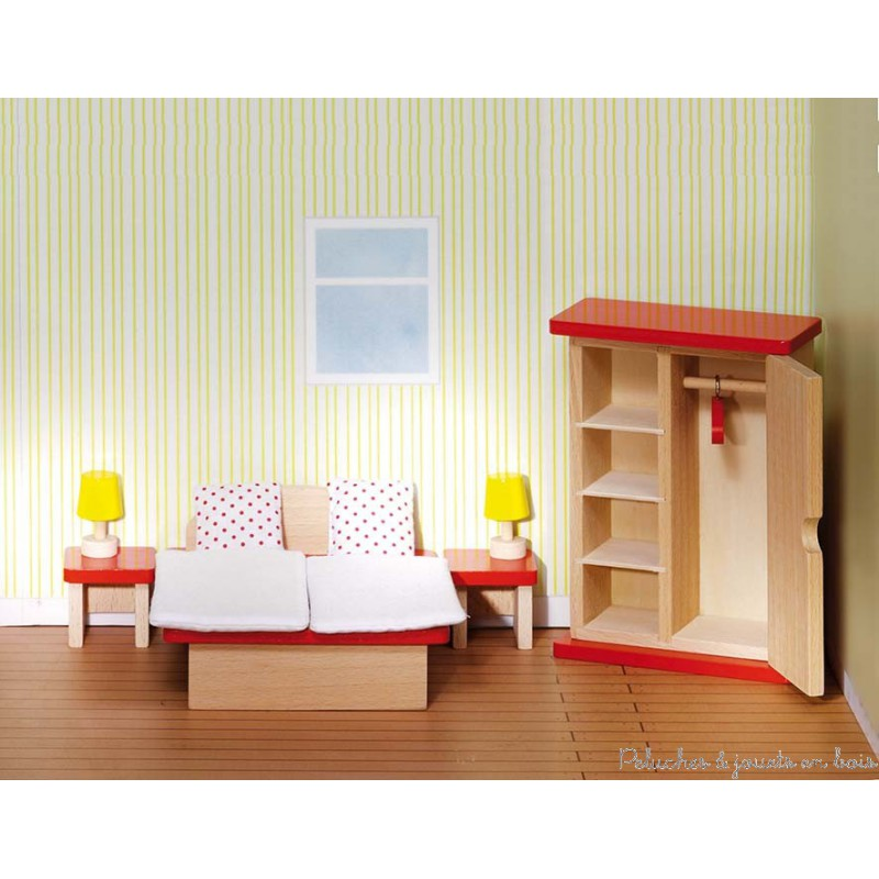chambre coucher des parents de maison de poup e en bois goki 3 ans. Black Bedroom Furniture Sets. Home Design Ideas