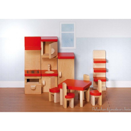 cuisine de maison de poup e en bois ensemble de 9 meubles goki 3 ans. Black Bedroom Furniture Sets. Home Design Ideas