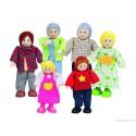 Famille heureuse 6 poupées articulées en bois Hape