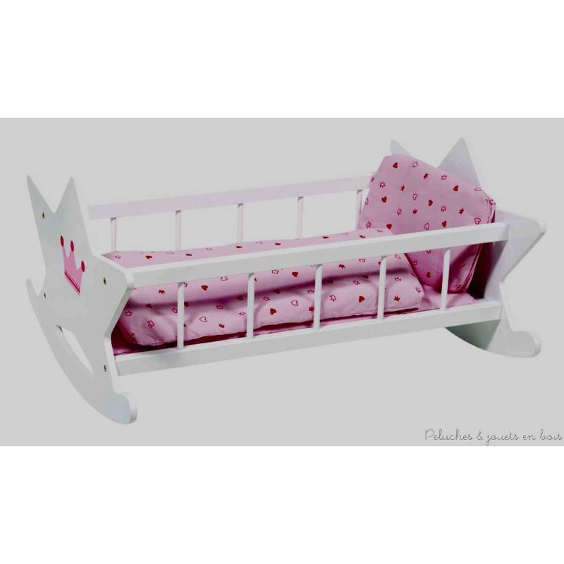 berceau en bois pour poup e garni textile inclus goki ref. Black Bedroom Furniture Sets. Home Design Ideas