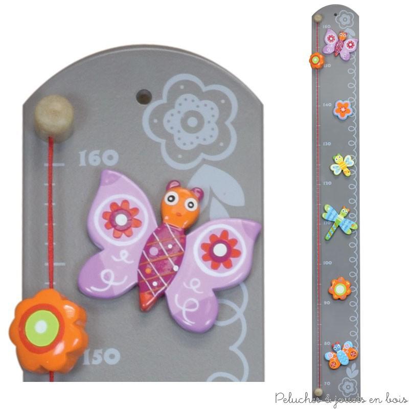 Toise couleur en bois motif bucolique d coration enfant cadeau naissance - Toise en bois personnalisable ...