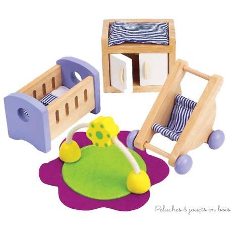 ensemble pour maison de poup es en bois la chambre du b b hape 3 ans. Black Bedroom Furniture Sets. Home Design Ideas