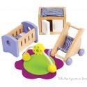 Meubles pour maison de poupée, chambre du bébé Hape