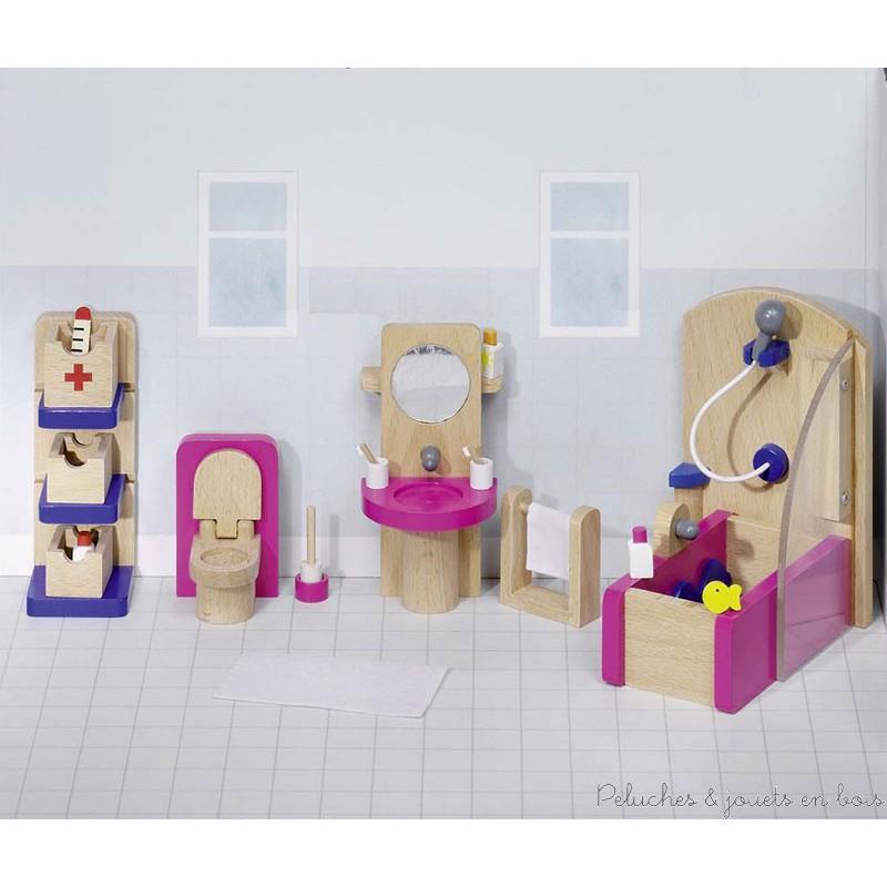 Salle de bain 22 meubles en bois pour maison de poup e for Meubles en bois pour salle de bain