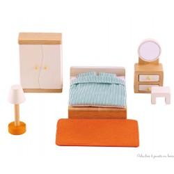 Meubles pour maison de poupée, chambre des parents