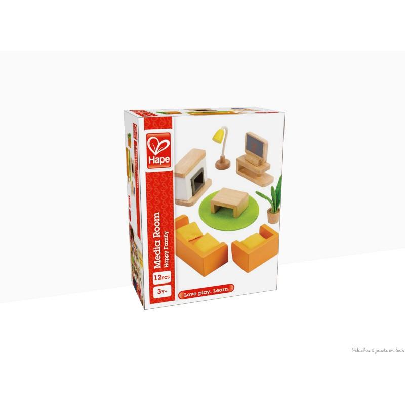 Meubles salon pour maison de poup e en bois peint for Salon multimedia