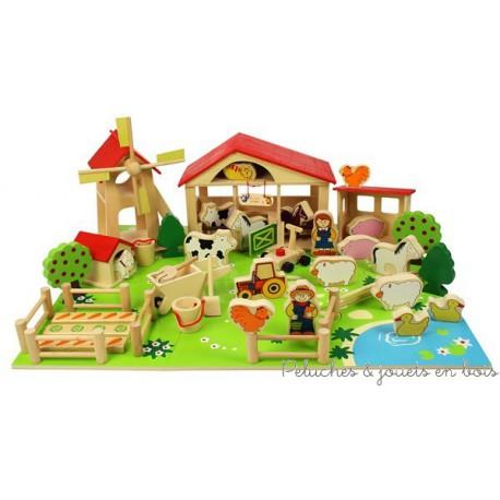 petite ferme en bois bigjigs tr s compl te 48 pi ces. Black Bedroom Furniture Sets. Home Design Ideas