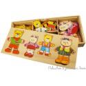Bigjigs Boite de jeux puzzle en bois Famille ours à habiller