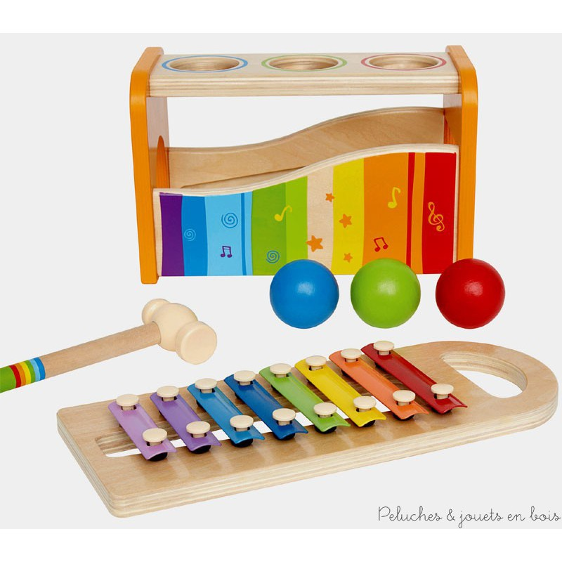 xylophone et boitier marteler les billes en bois. Black Bedroom Furniture Sets. Home Design Ideas