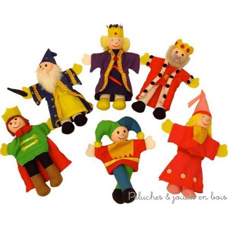 Bigjigs 6 marionnettes de doigt en bois La cour royale