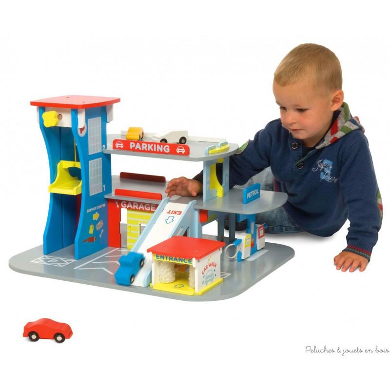 garage en bois jouet bigjigs pour jouer au petites voitures d s 3 ans. Black Bedroom Furniture Sets. Home Design Ideas