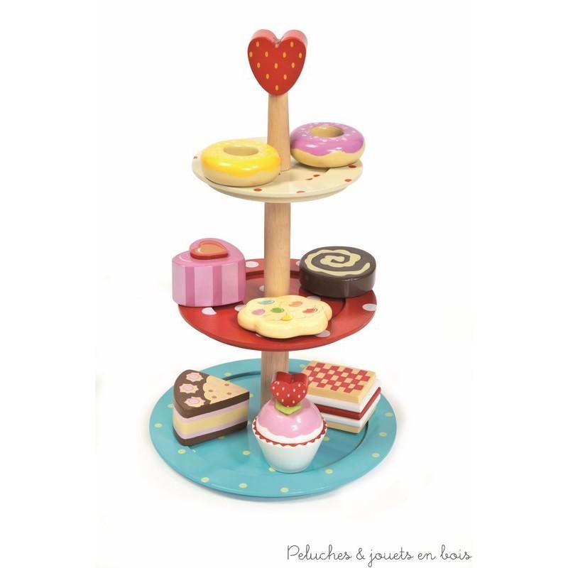 jouer à la dinette en bois accessoires et aliment en bois gateau ...
