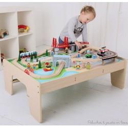 Bigjigs Grand circuit de train en bois de la Ville + table BJT045