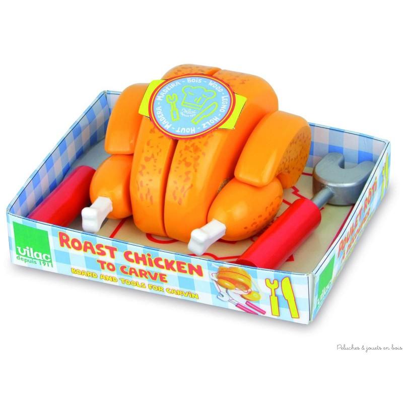 poulet roti d couper jouet en bois vilac pour la dinette 3 ans. Black Bedroom Furniture Sets. Home Design Ideas
