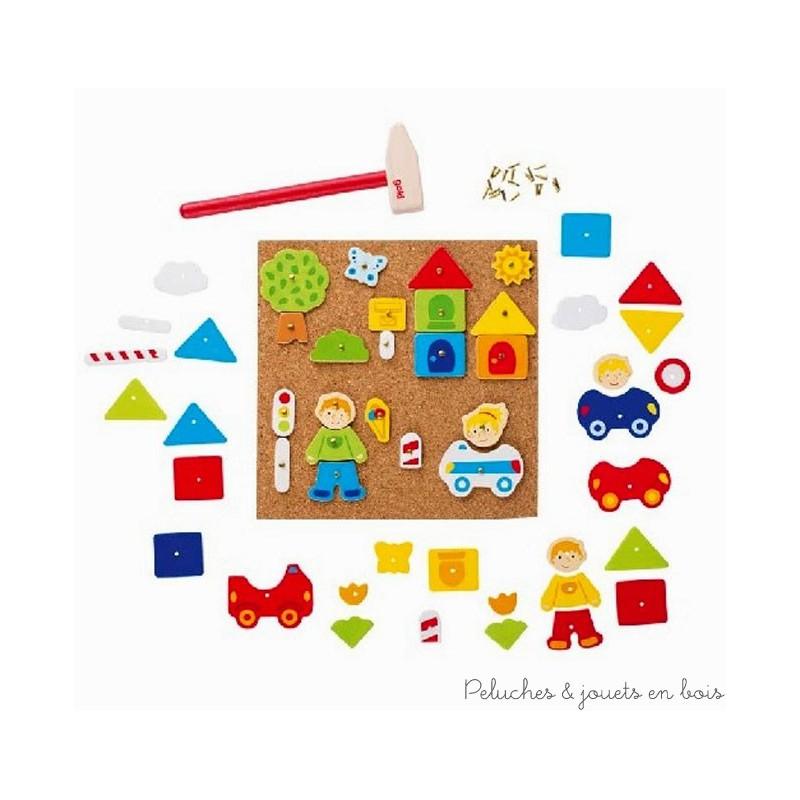 jeu de clous marteau th me ville 52 l ments jouet en bois goki. Black Bedroom Furniture Sets. Home Design Ideas