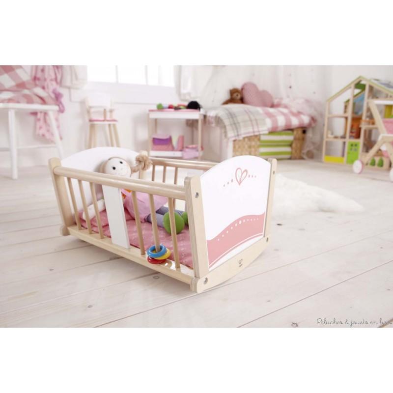 berceau de poup e en bois naturel avec garniture hape meuble de poup e. Black Bedroom Furniture Sets. Home Design Ideas