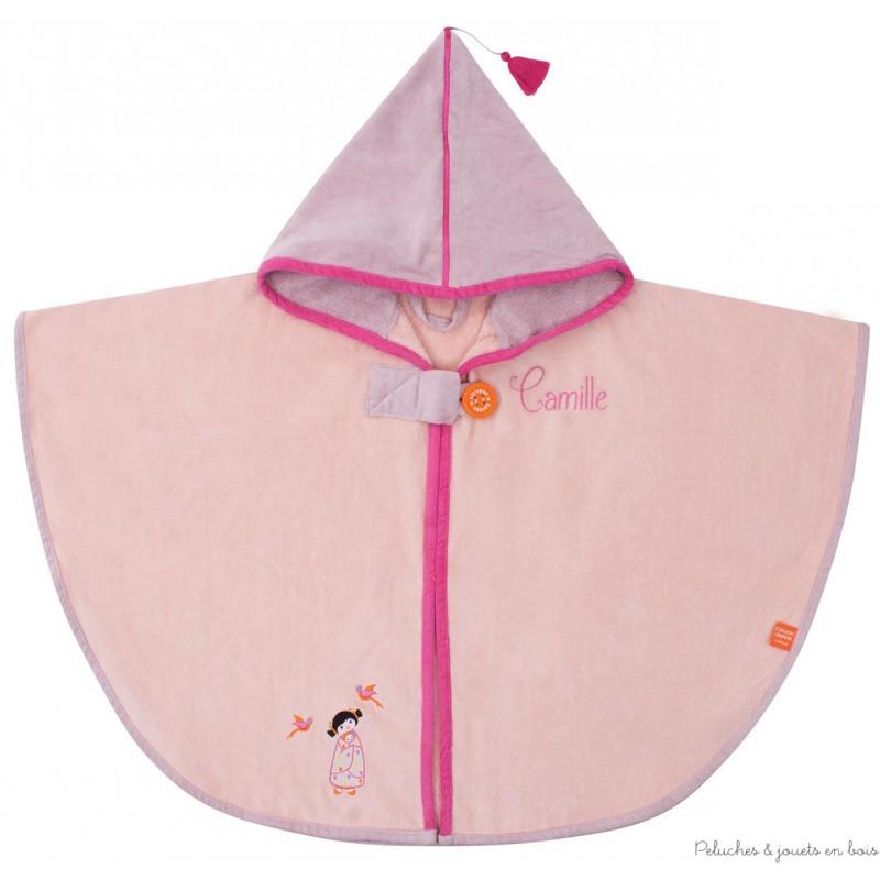 cape de bain tonkinoise rose broder id al cadeau naissance b b 0 m. Black Bedroom Furniture Sets. Home Design Ideas