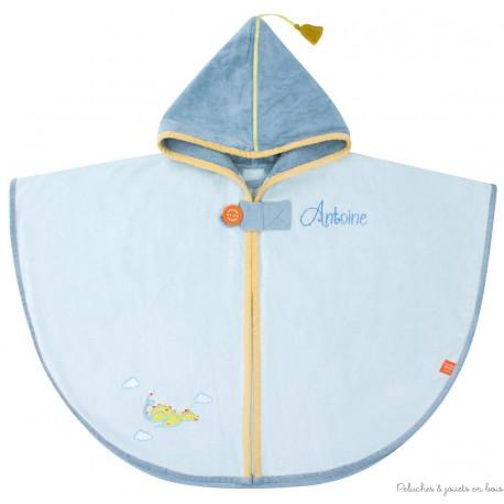 Cape de bain bleue avec capuche Prénom brodé personnalisable