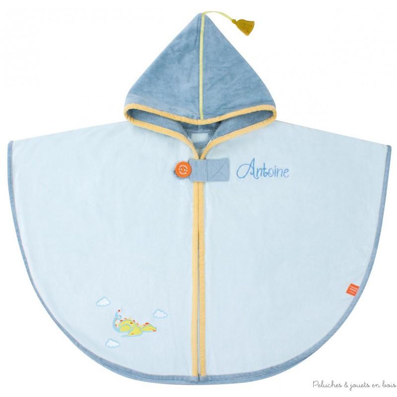 cape de bain avec capuche bleue broder cadeau naissance b b 0 mois. Black Bedroom Furniture Sets. Home Design Ideas