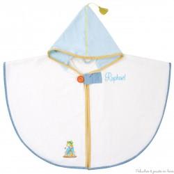 Cape de bain écrue avec capuche bleue Prénom brodé personnalisable