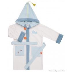 Peignoir écru 4/6 ans avec capuche bleue Prénom brodé personnalisable