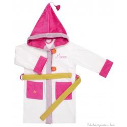 Peignoir écru 4/6 ans avec capuche rose Prénom brodé personnalisable