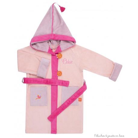 Peignoir rose 4/6 ans avec capuche Prénom brodé personnalisable