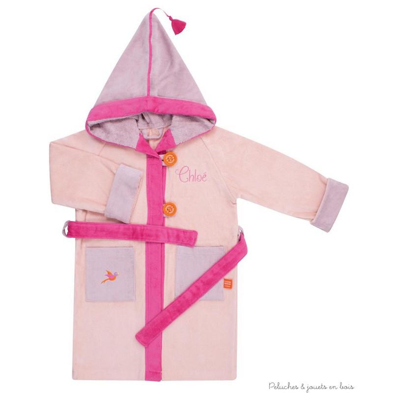 peignoir de bain rose brod avec capuche cadeau personnalis 4 6 ans. Black Bedroom Furniture Sets. Home Design Ideas