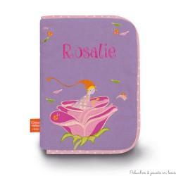 Protège carnet de santé  Lutine à la rose Prénom brodé personnalisable